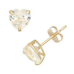 Lab-Created White Sapphire 10k Gold Heart Stud Earrings