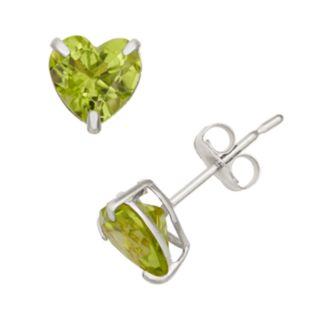 Peridot 10k White Gold Heart Stud Earrings