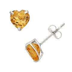 Citrine 10k White Gold Heart Stud Earrings