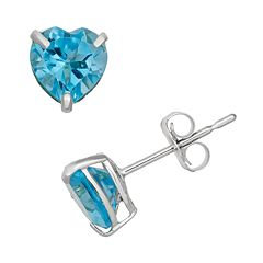 Swiss Blue Topaz 10k White Gold Heart Stud Earrings