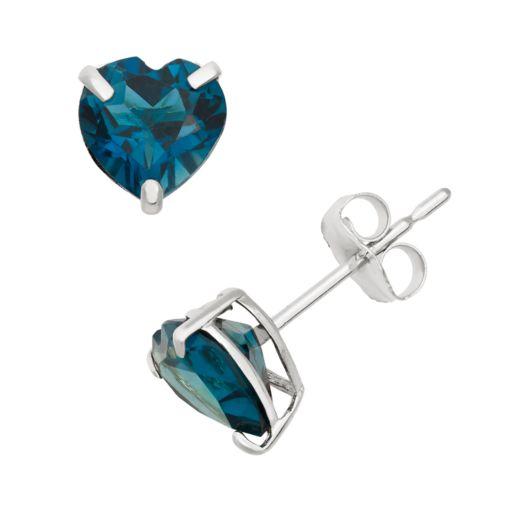 London Blue Topaz 10k White Gold Heart Stud Earrings