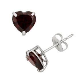 Garnet 10k White Gold Heart Stud Earrings
