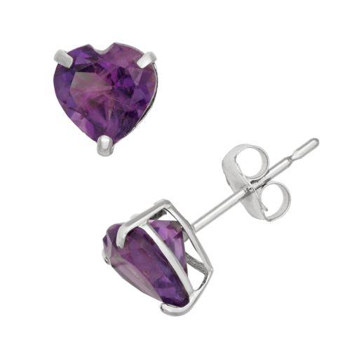 Amethyst 10k White Gold Heart Stud Earrings
