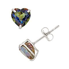 Mystic Topaz 10k White Gold Heart Stud Earrings