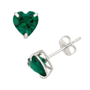 Lab-Created Emerald 10k White Gold Heart Stud Earrings