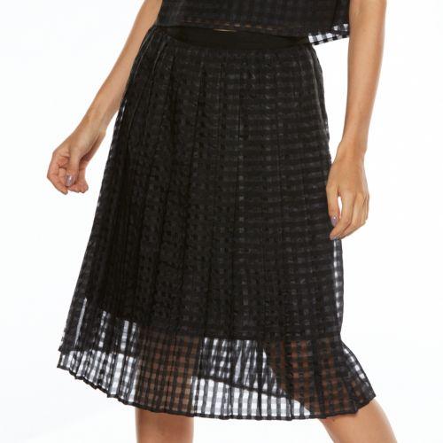 ELLE? Checkered Midi Organza Skirt - Women's