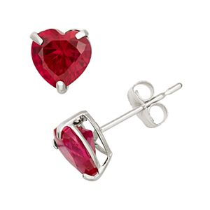 Lab-Created Ruby 10k White Gold Heart Stud Earrings