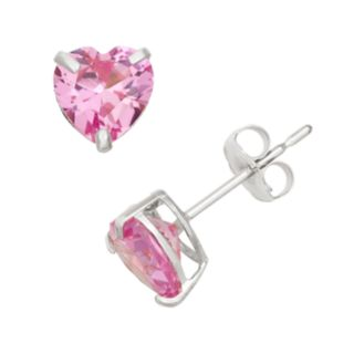Lab-Created Pink Sapphire 10k White Gold Heart Stud Earrings