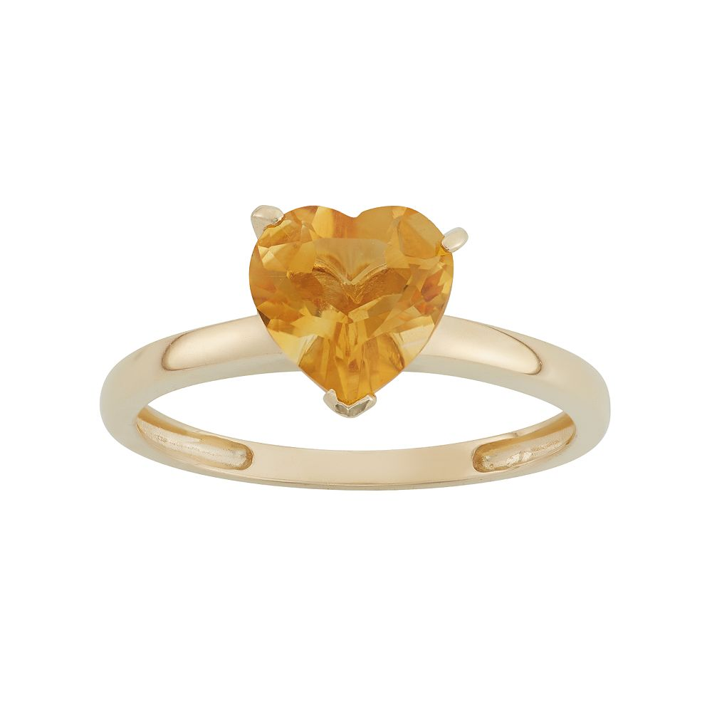 Citrine 10k Gold Heart Ring
