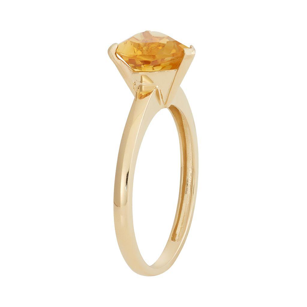 Citrine 10k Gold Heart Ring