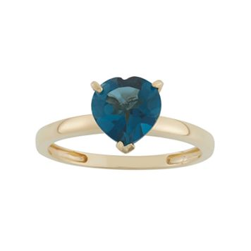 London Blue Topaz 10k Gold Heart Ring