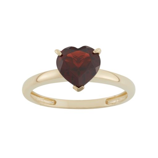 Garnet 10k Gold Heart Ring