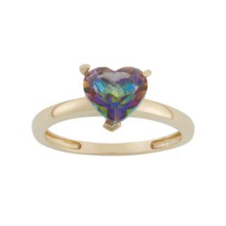 Mystic Topaz 10k Gold Heart Ring