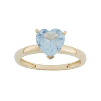 Lab-Created Aquamarine 10k Gold Heart Ring