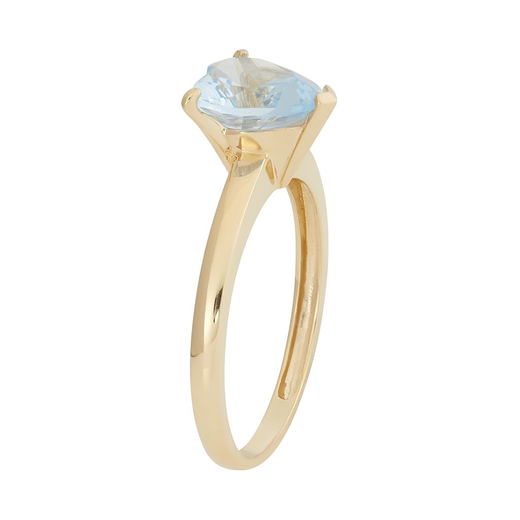 Lab-Created Aquamarine 10k Gold Heart Ring