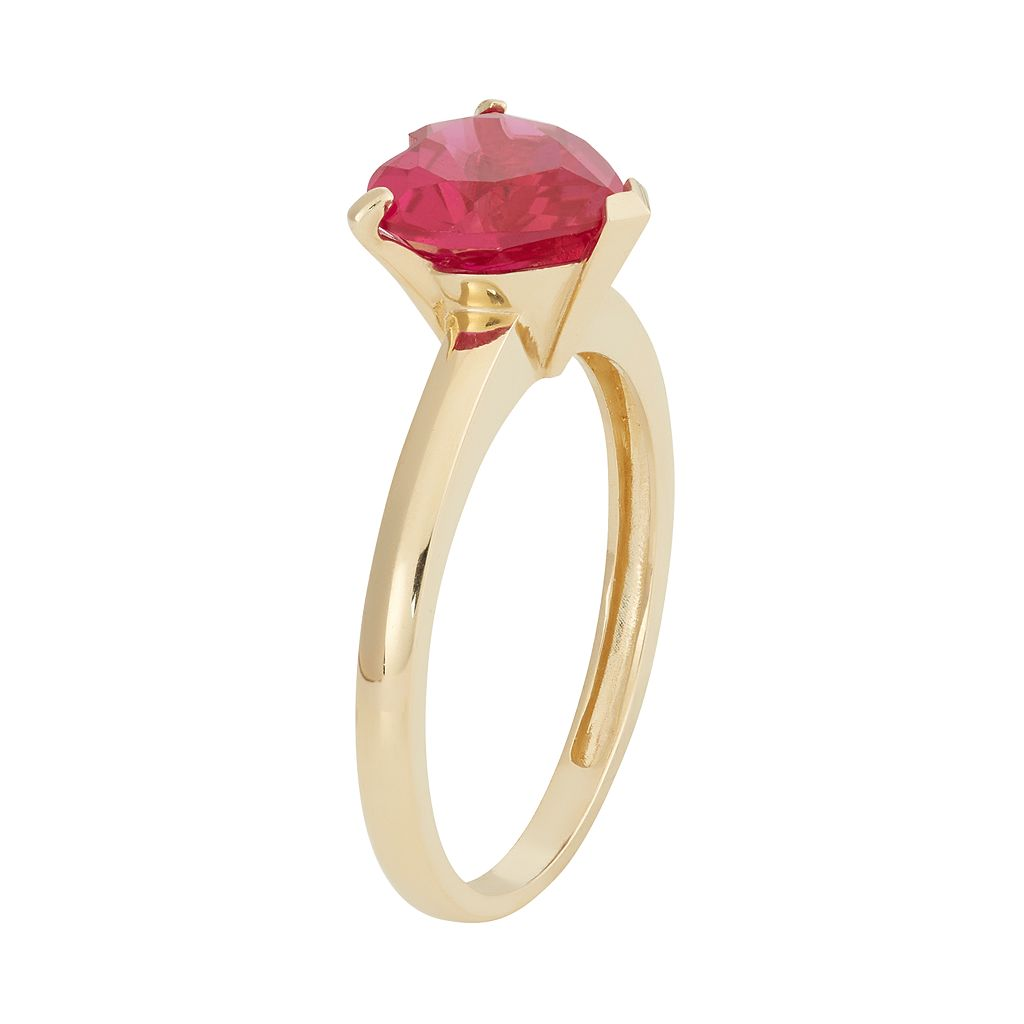 Lab-Created Ruby 10k Gold Heart Ring
