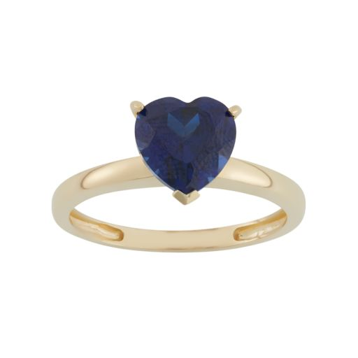 Lab-Created Sapphire 10k Gold Heart Ring