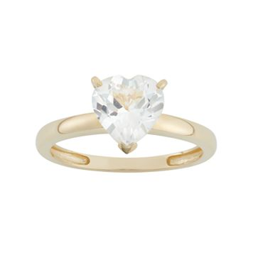 Lab-Created White Sapphire 10k Gold Heart Ring