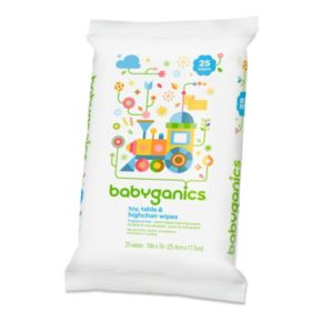 Babyganics On-the-Go 25-pk. Fragrance-Free Toy, Table & High Chair Wipes