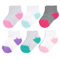 Baby Girl / Toddler Girl Jumping Beans® 6-pk. Colorblock Quarter Socks