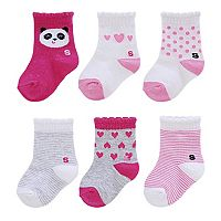 Baby Girl / Toddler Girl Jumping Beans® 6 pkCrew Socks