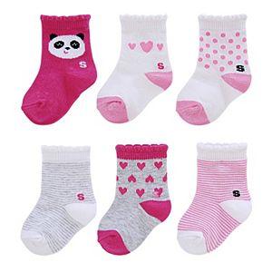 Baby Girl / Toddler Girl Jumping Beans® 6-pk. Crew Socks