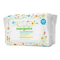Babyganics 100-pk. Fragrance-Free Face, Hand & Baby Wipes