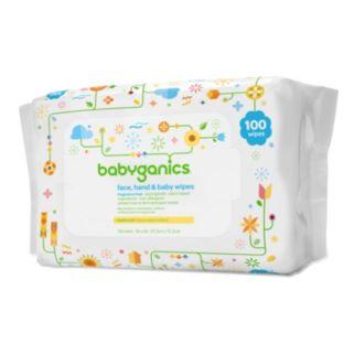 Babyganics 100-pk. Fragrance-Free Face, Hand & Baby Wipes