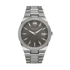 Bulova Men's Crystal Stainless Steel Watch - 96B221