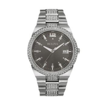 Bulova Men's Crystal Stainless Steel Watch - 96B221