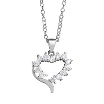 Cubic Zirconia Silver-Plated Cutout Heart Pendant Necklace