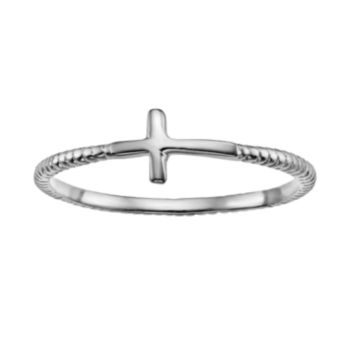 Silver-Plated Sideways Cross Ring