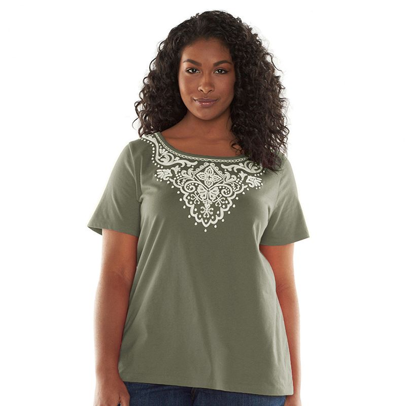 Croft & Barrow® Embroidered Scoopneck Tee - Women's Plus Size