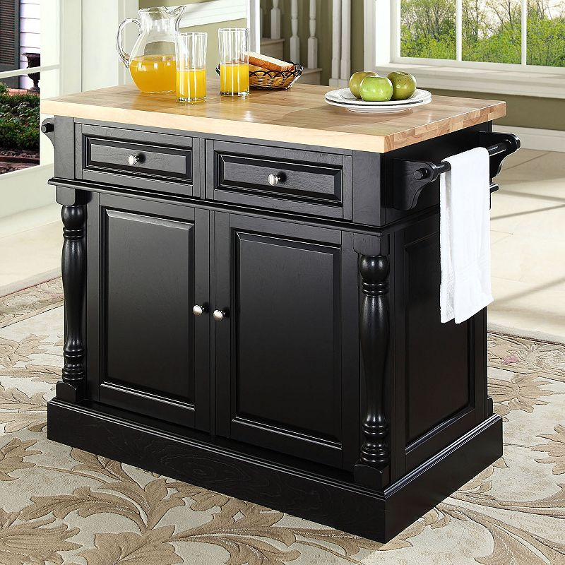 Crosley Furniture Butcher Block Top Kitchen Island, Black