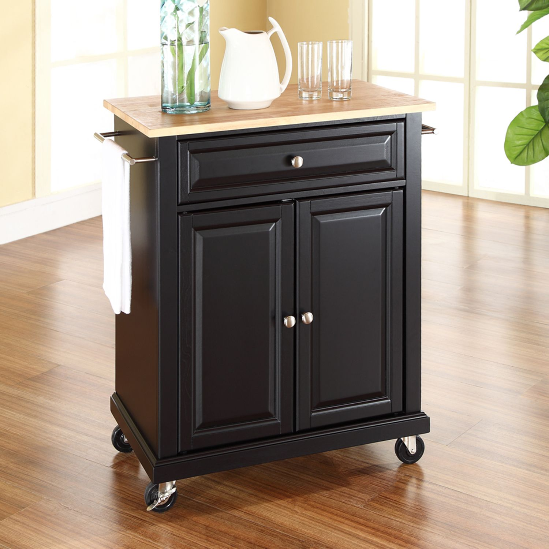 Crosley Furniture Wood Top Kitchen Island Cart. Cherry Black