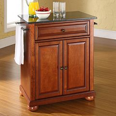 Crosley Furniture Alexandria Black Granite Top Kitchen Island