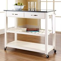 Crosley Furniture Black Granite Top Kitchen Cart