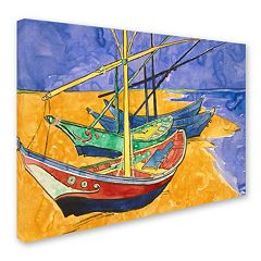 'Fishing Boats on the Beach' Canvas Wall Art by Vincent van Gogh