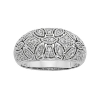 1/3 Carat T.W. IGL Certified Diamond 14k White Gold Art Deco Wedding Ring