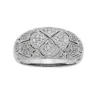 1/2 Carat T.W. IGL Certified Diamond 14k White Gold Art Deco Wedding Ring