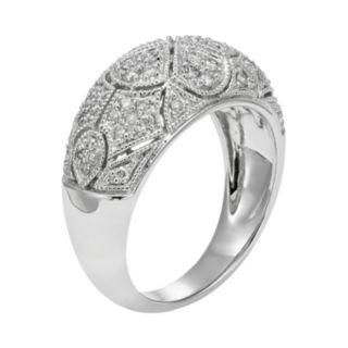 1/2 Carat T.W. IGL Certified Diamond 14k White Gold Art Deco Wedding Ring