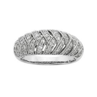 3/8 Carat T.W. IGL Certified Diamond 14k White Gold Art Deco Wedding Ring