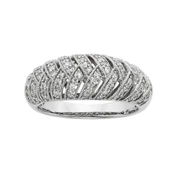 3/8 Carat T.W. IGL Certified Diamond 14k White Gold Art Deco Wedding Ring