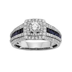 14k White Gold 1 Carat T.W. IGL Certified Diamond & Blue Sapphire Tiered Square Halo Engagement Ring