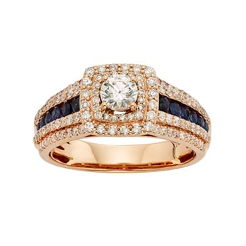 IGL Certified Diamond & Blue Sapphire Tiered Square Halo Engagement Ring in 14k Rose Gold (1 Carat T.W.)