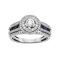 IGL Certified Diamond & Blue Sapphire Tiered Halo Engagement Ring in 14k White Gold (1 Carat T.W.)
