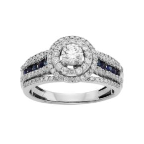 IGL Certified Diamond and Blue Sapphire Tiered Halo Engagement Ring in 14k White Gold (1 Carat T.W.)