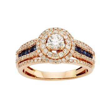 IGL Certified Diamond & Blue Sapphire Tiered Halo Engagement Ring in 14k Rose Gold (1 Carat T.W.)