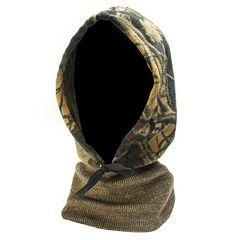 QuietWear Camo Fleece Hood with Knit Neck - Men