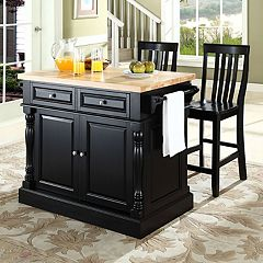 Crosley Furniture 3-piece Kitchen Island & School House Counter Chair Set